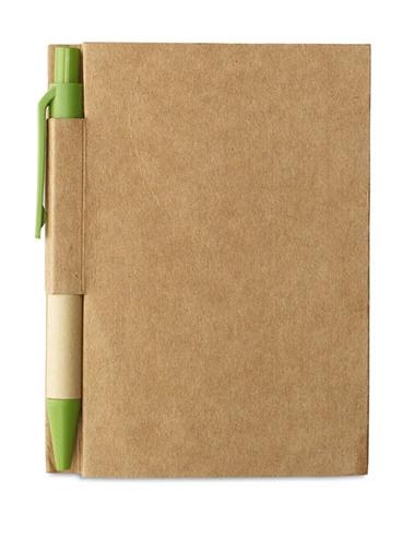 Bloc-notes recyclé avec stylo, couleur : vert citron