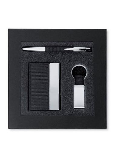 Coffret cadeau contenant un stylo, un porte-clés et un porte-cartes