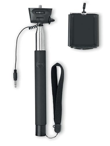 Canne à selfie noir en acier inoxydable et une poignée en silicone