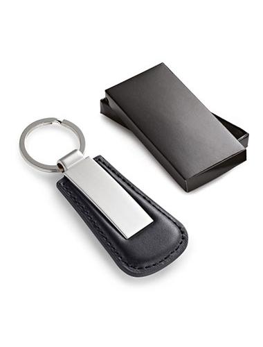 Porte-clés en cuir noir avec une plaque métallique