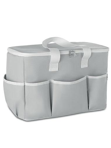 Sac isotherme de couleur grise avec plusieurs poches