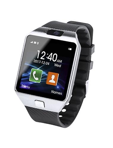 Une Smartwatch qui affiche l'heure, l'application de contact et l'application d'appel
